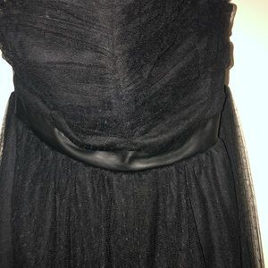 Strapless black leather strip formal dress